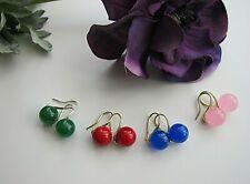 Green Jade, Pink Rose Quartz or Red Sea Shell Pearl Drop Earrings.