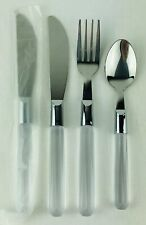 Clear Plastic Handle Stainless 4 Piece Flatware 18/10