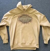 GILDAN Ultra Blend Mens Tan Brown Cowboy Up Western Cotton Sweatshirt Hoodie NWT