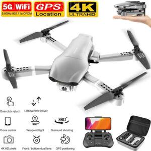 Drone 4K HD Camera GPS 5G WIFI FPV Foldable Quadcopter 2PCS Batteries Wide Angle
