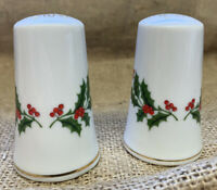"Porcelain Holly Berry Leaf Salt & Pepper Shakers, Pair 2 3/4"" Tall Each - Japan"