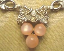 "Vintage 15"" Heavy Box Chain with Pink Moon Glow & Clear Stone Attached Pendant"