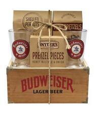 BUDWEISER WOOD CRATE GIFT SET | 2 PINT GLASSES | PRETZELS/PEANUTS