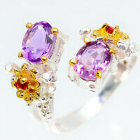 Sweet Flower! Natural Amethyst 7x5 mm. 925 Sterling Silver Ring / RVS138