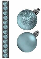 Toyland� Mini Christmas Baubles - BABY BLUE - ICE BLUE - Assorted Matt + Glitter