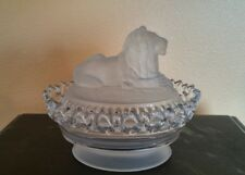 Imperial Glass Satin Frosted LION Covered Candy Dish Atterbury 1889 Lattice Edge