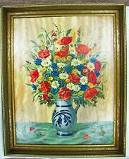 Vintage Antique 1920's Alfred Kusche OOB Floral Still Life Oil On Board Painting