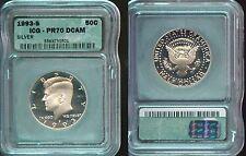 1993-S SILVER ICG  KENNEDY HALF DOLLAR  PR70 DCAM  (8756)  BEAUTIFUL FROSTY COIN