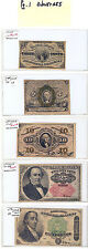 Set of US Fractional Currency... 10 notes total Avg. Circ. to AU Very Nice Group