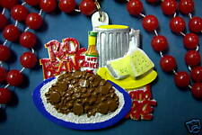 "PLATE ""RED BEANS & RICE"" MARDI GRAS NECKLACE BEAD HOT SAUCE BEER (B513)"
