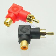 2X Gold RCA Male Plug to RCA Female Jack Right Angle AV Audio Adapter Red+Black