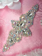 "JB47 Aurora Borealis Silver Beaded Crystal Rhinestone Applique 6""@ Glory's House"