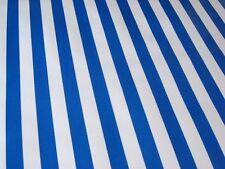 ROYAL BLUE WHITE CABANA STRIPE PICNIC BEACH BBQ OILCLOTH VINYL TABLECLOTH 48x72