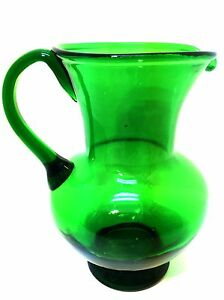"""Vintage Pitcher Forest Green Thick Glass Mid Century Modern Style 7.75"""" Tall"""