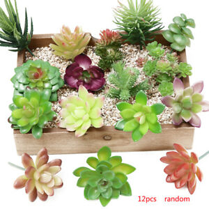 12X Artificial Succulent Plants Unpotted Fake Flocked Stems Home Tabletop Decor