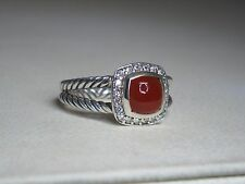 DAVID YURMAN PETITE ALBION 7MM CARNELIAN DIAMOND STERLING SILVER RING SIZE 7