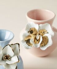 NEW ANTHROPOLOGIE CERAMIC BLOOM VASE PINK WT WHITE/GOLD ORCHID HANDMADE PAINTED