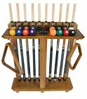 Cue Rack Only - 10 Pool - Billiard Stick & Ball Set Floor - Stand Oak Finish