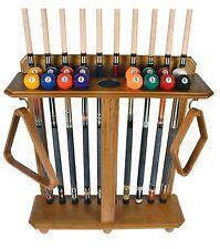 Cue Rack Only - 10 Pool - Billiard Stick & Ball Set Floor - Stand Oak Finish