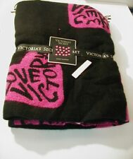Victoria Secret Throw Cover Blanket NWT Love Victoria Pink Black Fringe Heart