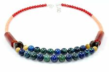 Azurite Malachite Agate Coral Mop Necklace Lariat Gemstone Ct 232 Mothers Day Gi