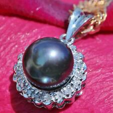14k white gold 7.5mm Tahitian pearl 0.18ct diamond pendant vintage handmade 1.4g