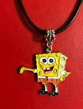 "SPONGEBOB SQUAREPANT ENAMELCHARM on 17.5"" faux Leather necklace pendant gift bag"