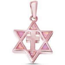 Rose Gold Plated Pink Opal Star of David with Cross .925 Sterling Silver Pendant