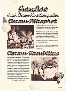 Werbeblatt Osram Kunstlichtquellen Nitraphot Vacublitze BDM Mädel 1938 ! (D2