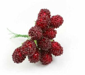12 x Himbeeren Attrappen Dekofrüchte Kunstobst Obst mit Draht Dekoobst Beere Rot