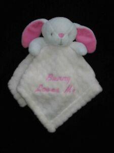 Bunny Loves Me Baby Lovey Security Blanket White Pink Cream Zig Zag