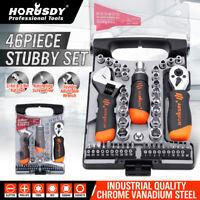 "46PC Stubby Ratchet Driver Socket Adjustable Wrench Tool Set 1/4"" 3/8"" Bits Case"