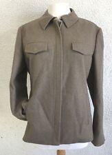 J. Crew Women's Wool Blend Lined Jacket Size Large Tan Zip Up Blazer Coat
