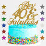 Personalised 40 and Fabulous Birthday Glitter Cake Topper Any Name Any Age 50 60