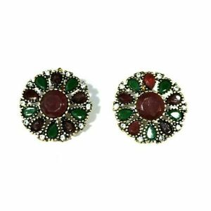 Earring Ring Turkish Silver earring Natural Onyx Cut Fine Jewelry D-67 v482