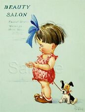VINTAGE BEAUTY SALON HAIR FACIALS MASSAGE DOG CHILD TWELVETREE CANVAS ART PRINT