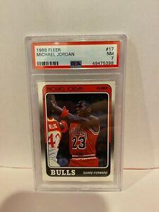1988 Fleer Michael Jordan Chicago Bulls Basketball Card HOF PSA NM 7 #17 Vintage