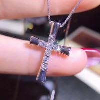 0.50Ct Round Cut VVS1/D Diamond Cross Pendant 14K White Gold Finish Free Chain