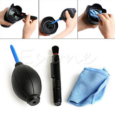 3 in 1 Lens Cleaning Cleaner Set DSLR VCR Camera Dust Pen Blower Wiper Cloth Kit