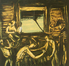 PRO HART (1928-2006), 'COOK LOADING STORES' ORIGINAL SIGNED AND FRAMED ETCHING