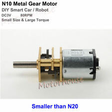 Dc 3v 80rpm N10 Mini Full Metal Gearbox Gear Motor Low Speed Diy Robot Smart Car