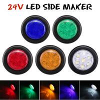 24V LED Mini Small Round Side Marker Light Truck Trailer RV Car Bullet Lamp