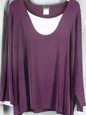 Citiknits 1X Long Sleeve Slinky Purple Lavender Shirt Top