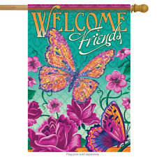 "Welcome Roses Spring Welcome House Flag Decorative Butterfly 28""x 40"""