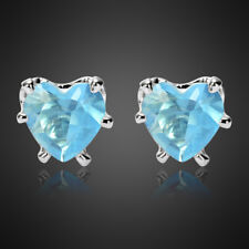 Fashion Lady Heart Cut Aquamarine 18K White Gold Plated Gp Stud Earrings Earing