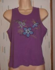 Columbia Sportswear Woman's M Purple Floral Appliqued Knit Top Tank Sleeveless