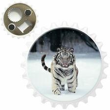 White Tiger In Snow Bottle Opener Fridge Magnet