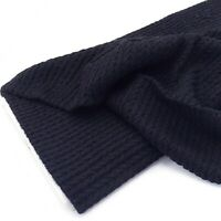 Luxe Angora Cable Soft Jersey - Navy - Fabric Stretch Knit Dressmaking