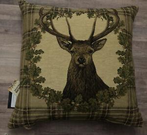 Hines of Oxford Stag Beige Tartan  Tapestry Pillow – Alpine Resort - New