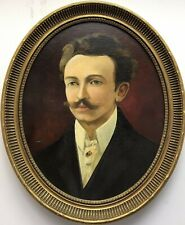 Victorian 19th Century Antique Old Oval Oil painting on canvas portrait man